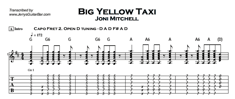 Joni Mitchell - Big Yellow Taxi Tab