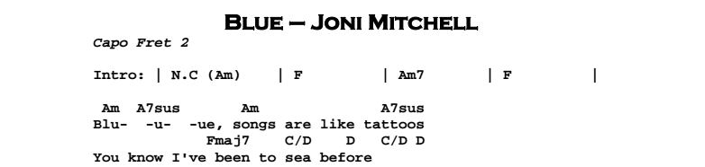 Joni Mitchell - Blue Chords & Songsheet