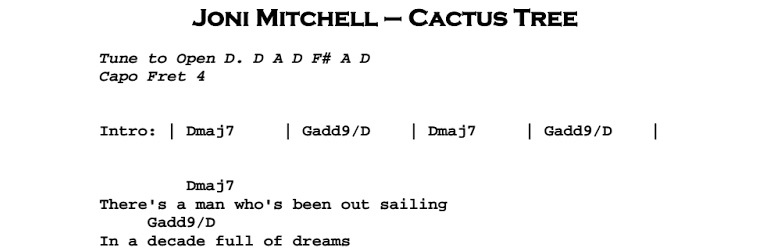 Joni Mitchell - Cactus Tree Chords & Songsheet