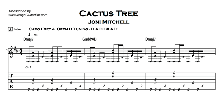 Joni Mitchell - Cactus Tree Tab