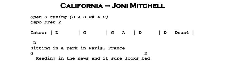 Joni Mitchell - California Chords & Songsheet