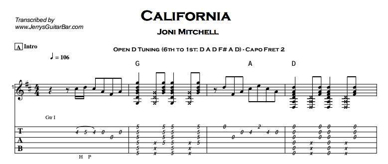 Joni Mitchell - California Tab