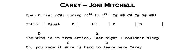 Joni Mitchell - Carey Chords & Songsheet
