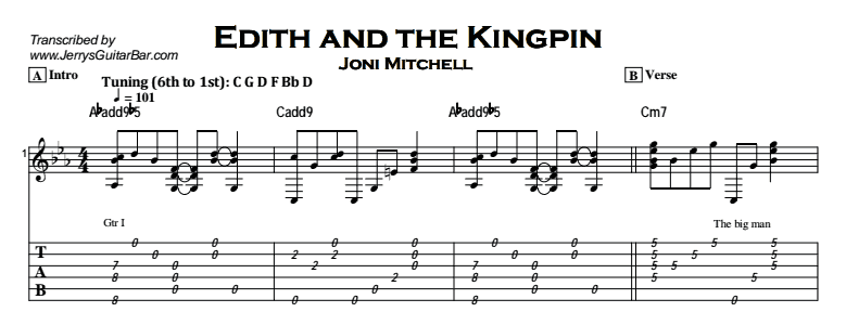 Joni Mitchell - Edith and the Kingpin Tab