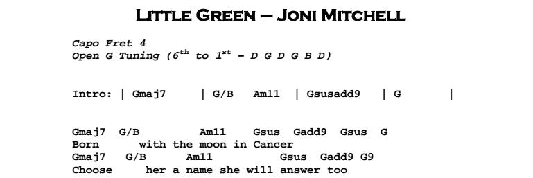 Joni Mitchell – Little Green Chords & Songsheet