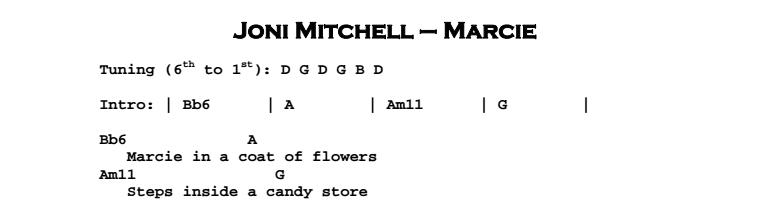 Joni Mitchell - Marcie Chords & Songsheet