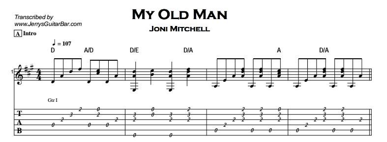 Joni Mitchell – My Old Man Tab