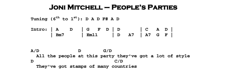 Joni Mitchell - People's Parties Chords & Songsheet