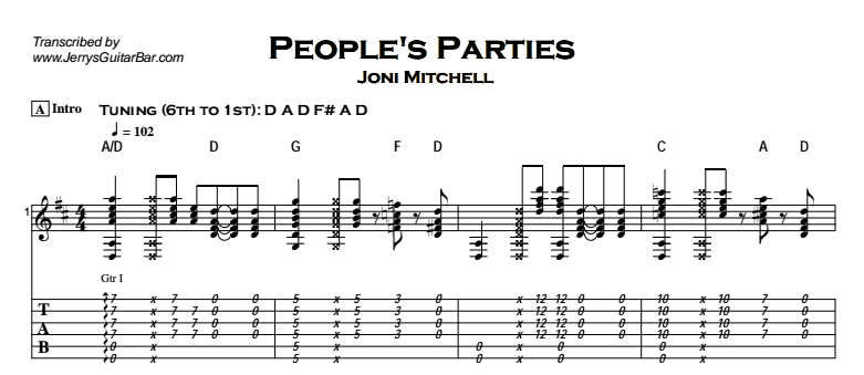 Joni Mitchell - People's Parties Tab