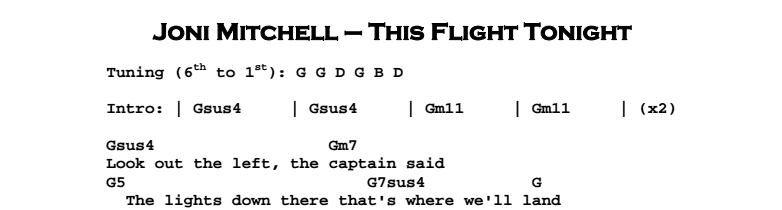Joni Mitchell - This Flight Tonight Chords & Songsheet