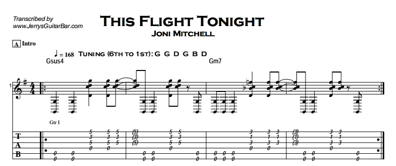 Joni Mitchell - This Flight Tonight Tab