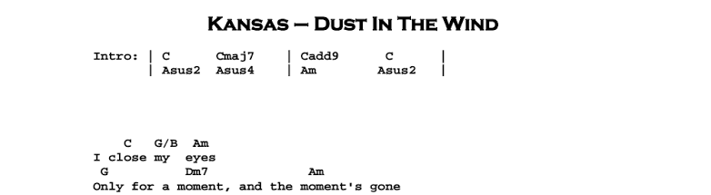 Kansas - Dust In The Wind Chords & Songsheet