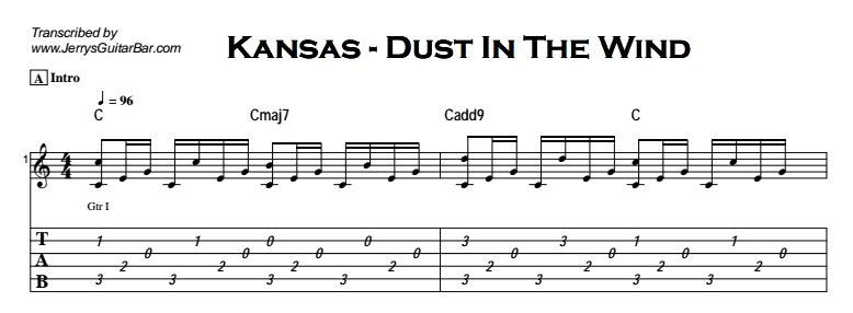 Kansas - Dust In The Wind Tab