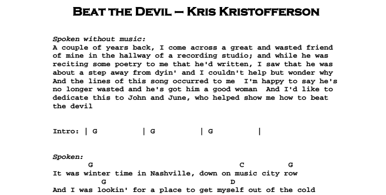 Kris Kristofferson – To Beat The Devil Chords & Songsheet