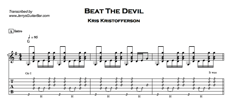 Kris Kristofferson – To Beat The Devil Tab
