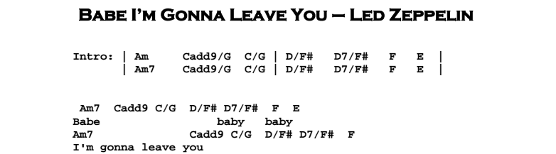Led Zeppelin – Babe I'm Gonna Leave You Chords & Songsheet Preview