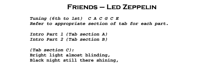 Led Zeppelin - Friends Chords & Songsheet