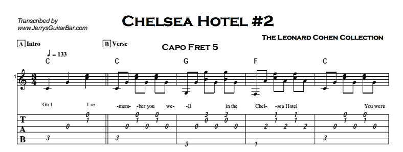 Leonard Cohen - Chelsea Hotel #2 Tab