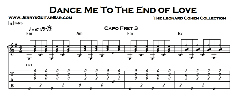 Leonard Cohen - Dance Me To The End Of Love Tab