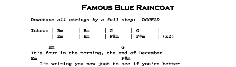 Leonard Cohen - Famous Blue Raincoat Chords & Songsheet