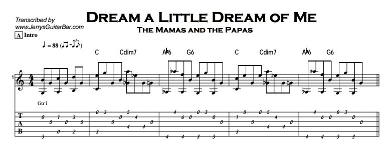 The Mamas and the Papas - Dream a Little Dream of Me Tab