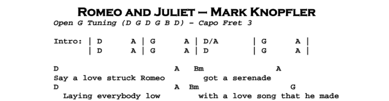 Mark Knopfler – Romeo and Juliet Chords & Songsheet