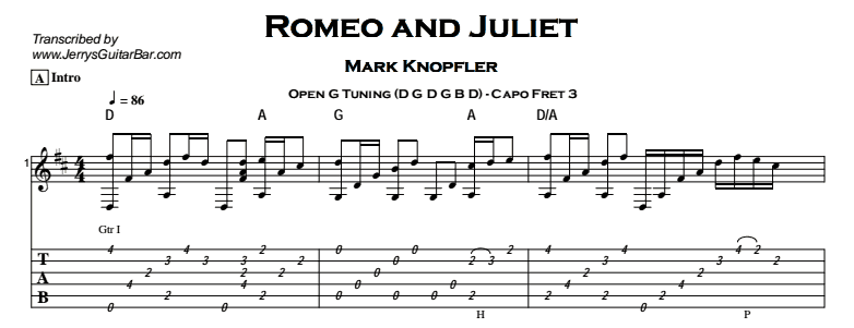 Mark Knopfler – Romeo and Juliet Tab
