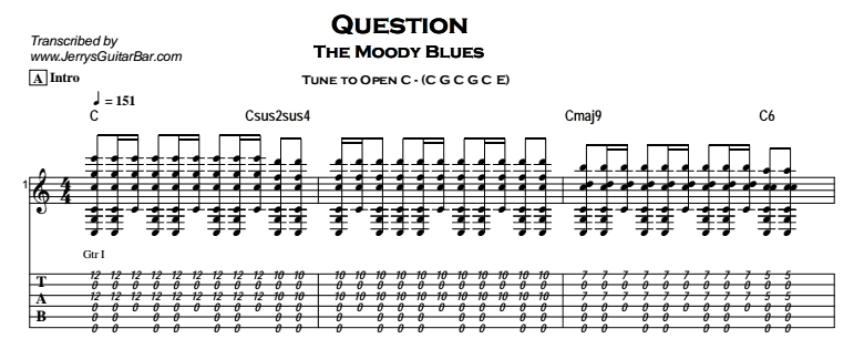 The Moody Blues - Question Tab
