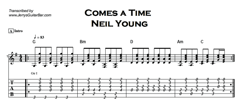 Neil Young - Comes a Time Tab