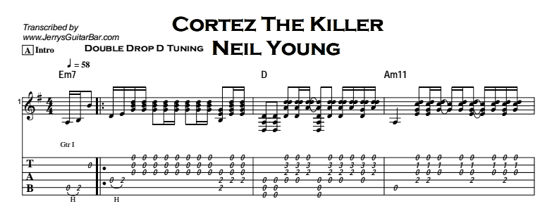 Neil Young - Cortez The Killer (acoustic) Tab