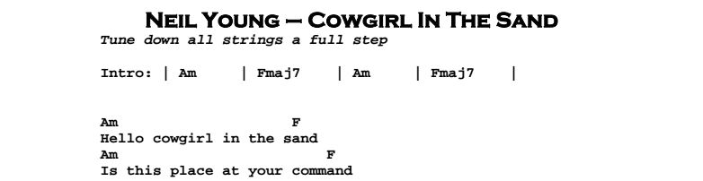 Neil Young - Cowgirl In The Sand Chords & Songsheet