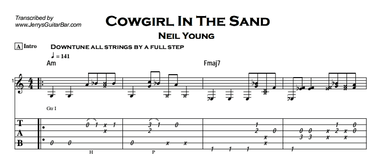Neil Young - Cowgirl In The Sand Tab