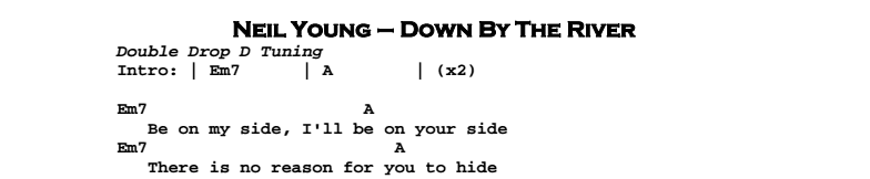 Neil Young - Down By The River (acoustic) Chords & Songsheet