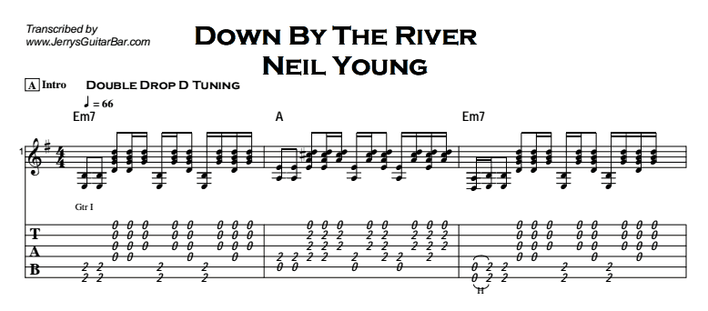 Neil Young - Down By The River (acoustic) Tab