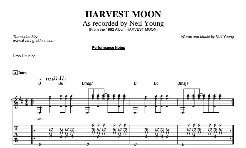 Neil Young – Harvest Moon Tab