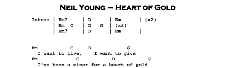 Neil Young - Heart Of Gold Chords & Songsheet