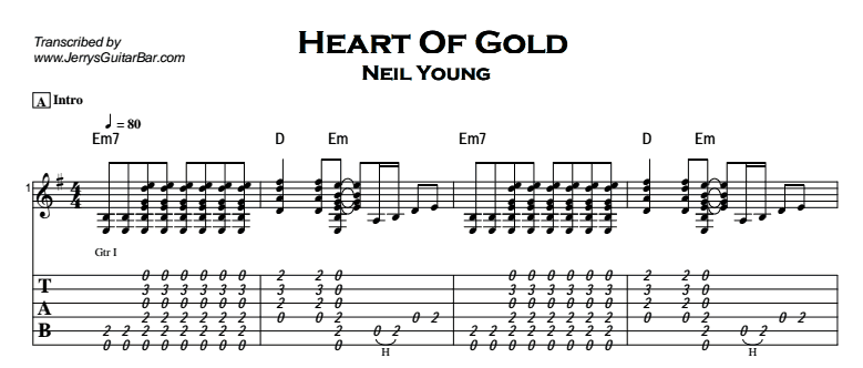Neil Young - Heart Of Gold Tab