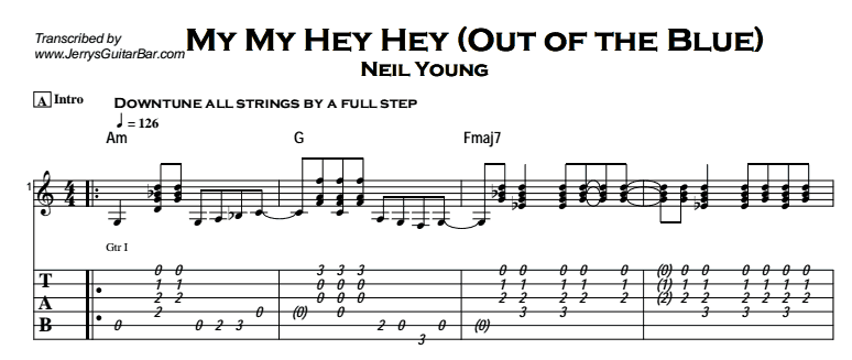 Neil Young - My My Hey Hey Tab