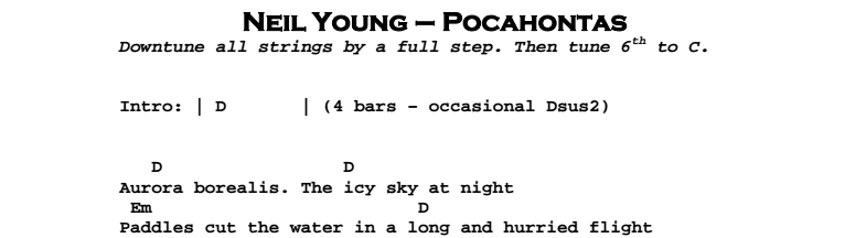 Neil Young - Pocahontas Chords & Songsheet