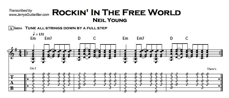 Neil Young Rockin In The Free World Guitar Lesson Tab Chords