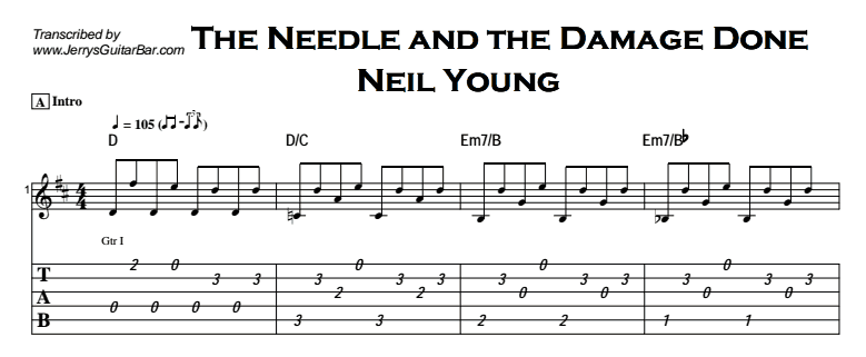 Neil Young The Needle And The Damage Done Jerrys Guitar Bar