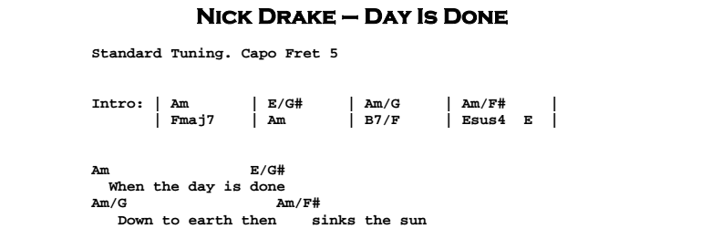 Nick Drake - Day is Done Chords & Songsheet