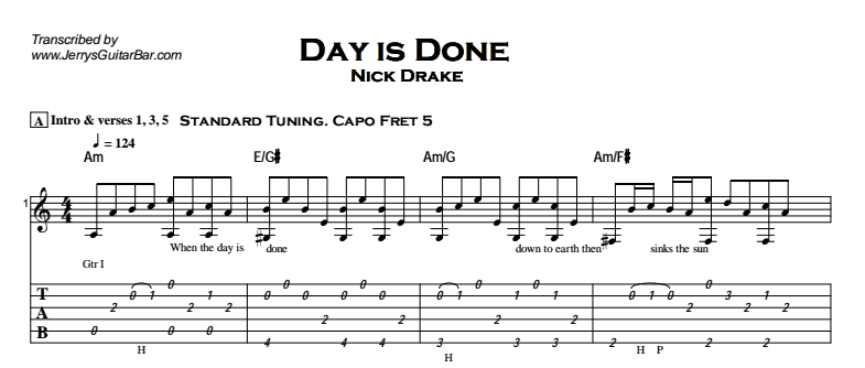 Nick Drake - Day is Done Tab