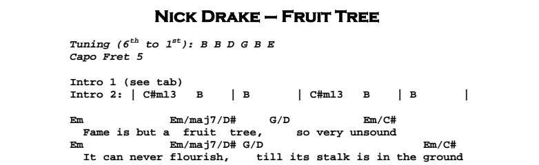 Nick Drake - Fruit Tree Chords & Songsheet