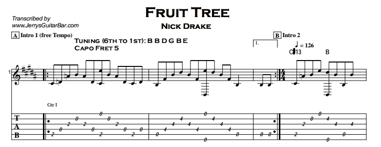 Nick Drake - Fruit Tree Tab
