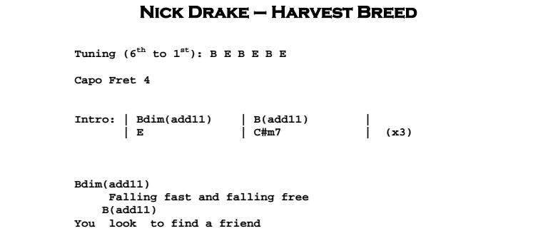 Nick Drake - Harvest Breed Chords & Songsheet