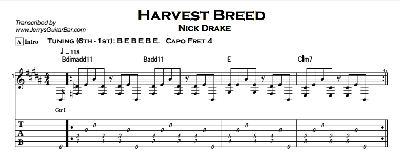 Nick Drake - Harvest Breed Tab