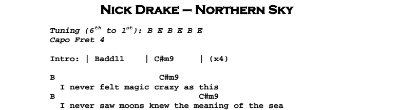 Nick Drake - Northern Sky Chords & Songsheet