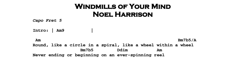 Noel Harrison – Windmills of Your Mind Chords & Songsheet