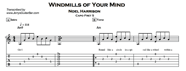 Noel Harrison – Windmills of Your Mind Tab